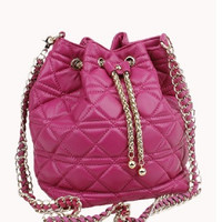 Casey Lambskin Leather Bucket Bag Hot Pink