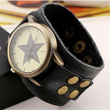 NEW Vintage Retro Wide Genuine Leather Strap Watch Men Fashion Braided  Wristwatches Bracelet Bangle Dress Watches Clock