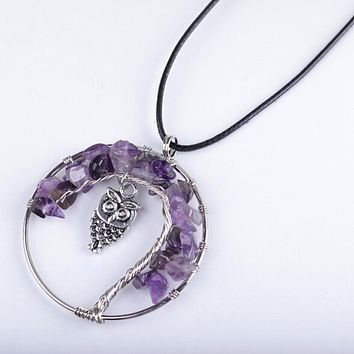 Boho Style Vintage Silver Plated Natural Multi Style Gravel Inlay Owl Tree Life Pendant Statement Necklace