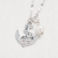 silver anchor necklace,bridesmaid gift,nautical jewelry,pearl,anchor jewelry,sailor gift,beach wedding,best friend,matching couple jewelry