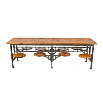 "highly sought after early 1920's american antique industrial ""sani"" 8-seat swing-out stool factory ""no 314"" sectional lunchroom table - Furniture - Shop"