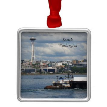 Seattle Washington City Space Needle View Ornament