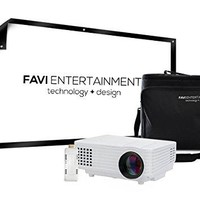 "Mini Video Projector Kit, includes 4 items - projector,, 100"" screen - White"