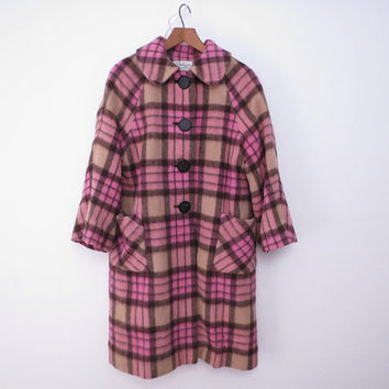Plaid Wool Coat Pink and Camel Plaid Coat A Line 50s or 60s size L Possibley Petite Amluxens Quality Fabric