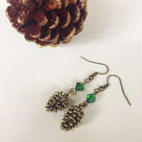 Antique Gold Pine Cone Earrings