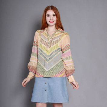 70s INDIAN Cotton Chevron Stripe TOP / 1970s Ethnic India Striped Pirate Poet Blouse