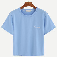 Blue Letter Embroidered T-shirtFor Women-romwe
