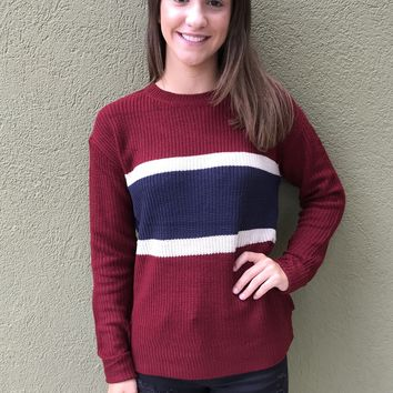 Heaven On Earth Sweater - Navy/Red