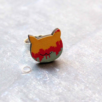 Cat Ring in Pink, Yellow and Blue colors with Urban Landscape