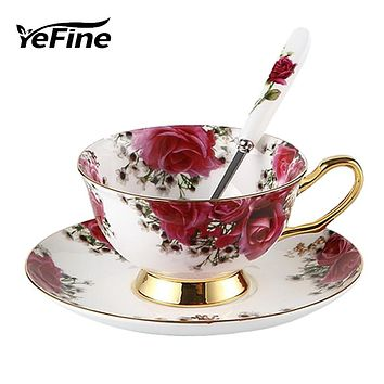 YeFine Flowers Bone China Coffee or Tea Cup With Saucer and Spoon