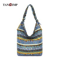 TANGIMP Women Slouch Bags Blue Aztec Hippie Gypsy Boho Blue Ethnic Tribal Oversize Hobo Sling Crossbody Shoulder Bags 2017