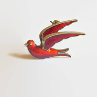 Red Bird Brooch, Enamel & Norway Sterling, Vintage, Bernard Meldahl, Designer Signed, Dimensional Dove Pin, Lovely!