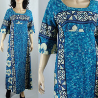 Sixties Ui-Maikai Cotton Hawaiian Maxi Dress, Medium