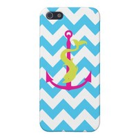 Blue chevron pattern with dolphin and anchor covers for iPhone 5 from Zazzle.com
