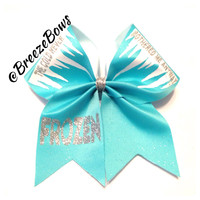 Cheer Bow- Frozen Inspired Icy Shimmer Glitter