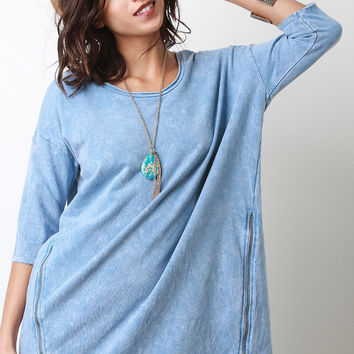 Zipper Front Faded Denim Imprint Dress