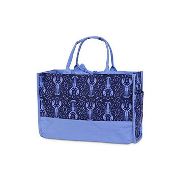 Maine Squeeze Open Tote Bag - Lobster Print in Navy / Cornflower