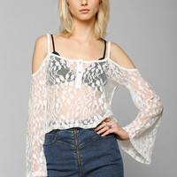 Pins And Needles Lace Cold-Shoulder Bell-Sleeve Top - Urban Outfitters