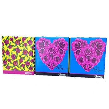 Betsey Johnson xox Limited Edition 3 Bundle Pack of Kleenex- Roses and Heart with Roses Boxes-each Box Has 74, 2-ply White Tissues-total 3 Boxes