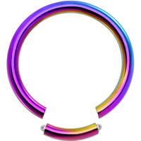 14 Gauge Rainbow Anodized Titanium Segment Ring | Body Candy Body Jewelry
