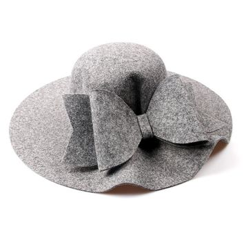 2017 New Australia Wool Felt Hat England Women Fedora Hat Wide Brim Hats With Big Bowknot For Elegant Lady Hat Christmas GIfts