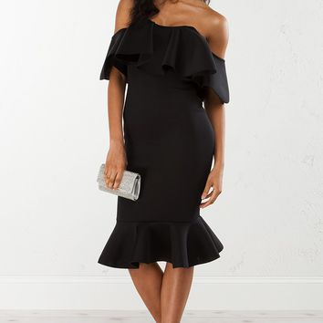 Ruffle Off The Shoulder Dress in Black