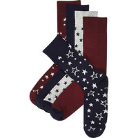 River Island MensMixed star print socks pack