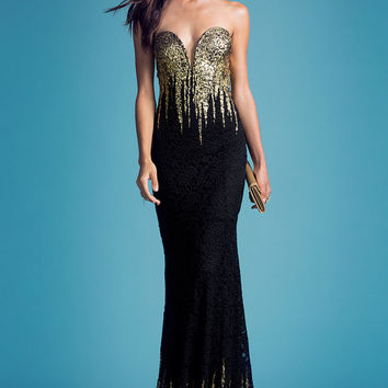 Gold Drip Lace Gown