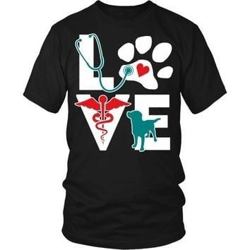 Vet Tech T Shirt - Veterinarian Love dog  v.Teal