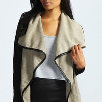 Katie PU Trim Waterfall Jacket