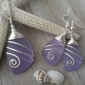 "Handmade in Hawaii, Wire wrapped  ""Magical Color Changing"" Purple sea glass necklace + earrings jewelry set"