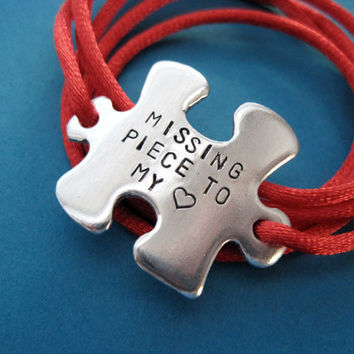 Puzzle Piece Bracelet - Missing Piece to my Heart - Custom Hand stamped Wrap Bracelet