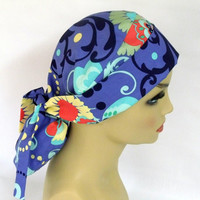Womens Pony Pouch Surgical Scrub Cap in Amy Butler Love Paradise Garden Periwinkle