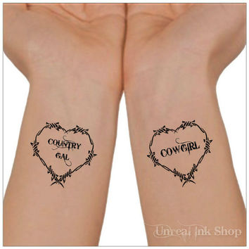 Temporary Tattoo 2  Country Gal and Cowgirl Wrist Tattoos