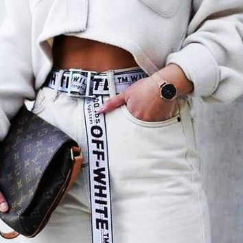 OFF-WHITE Tide brand wild men and women canvas belt silver&white
