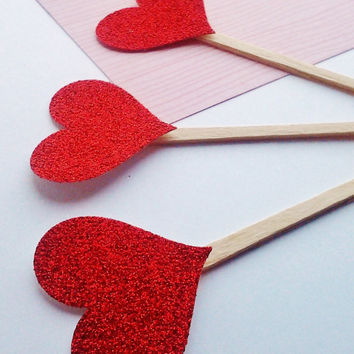 cupcake toppers, heart toppers, glitter cupcake, cupcake picks