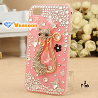 Best design 3D iphone case clear case Cat iphone 4 case iphone4 case iphone4s case cell phone cases pearl iphone case holiday gift
