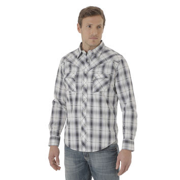 Wrangler Mens Black White Long Sleeve Western Plaid Shirt