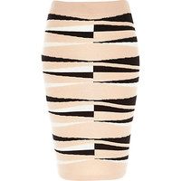 River Island Womens Pink graphic print pencil skirt