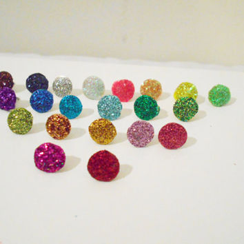 25 Glitter Thumb Tacks | Choose From 21 Colors Wedding Favor, Party Favor, Sorority Gift, Neon, Rainbow, Memo Board, Office Supply, Push Pin