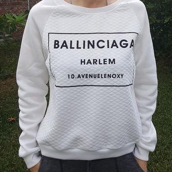 Black and White Ballinciaga Harlem Sweater with diamond quilted pattern