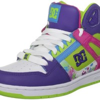 DC Women's Rebound Hi Lace-Up Fashion Sneaker,White/Purple/Soft Lime,6 M US
