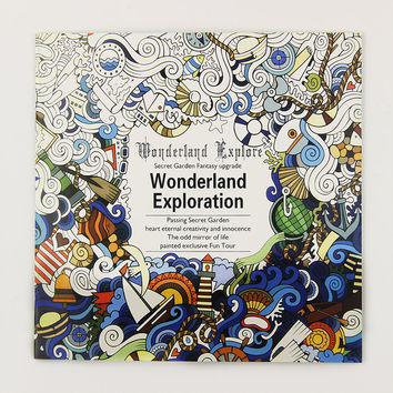 1 Pcs 24 Pages Wonderland Exploration Coloring Book for Children Adult Relieve Stress Kill Time Graffiti Painting Art Book