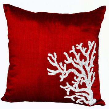 White Coral decorative throw pillows on red art silk - Oceanic pillow covers- Red silk pillows -Sofa pillows- Accent pillows- cushion cover