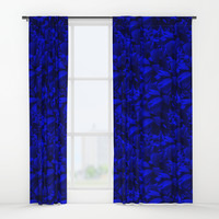 A202 Rich Blue and Black Abstract Design Window Curtains by gx9designs