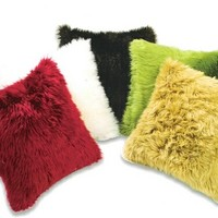 "Shag faux fur in, Red, Olive, Brown, Camel, Ivory, and Black 20"" x 20"" throw pillow"