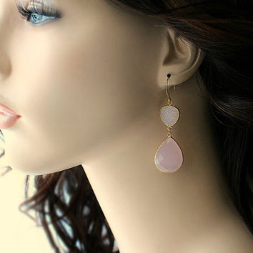 Rose Quartz Double Drop Earrings Snow White Druzy Genuine Pin