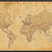 World Map (Vintage Style) 36x24 Dry Mounted Poster Wood Framed