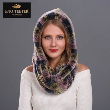 VONESC6 Winter Women Fur Scarves Muti-color  Natural Knitted Rex Rabbit Fur  Shawls  Real Fur Poncho  Hooded Scarves