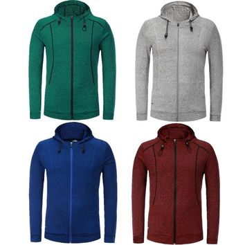 Men's Jackets Sweater Compression Outdoor Sports Football Gym Fitness Stockings Hooded Zipper Reflective Jacket 1006